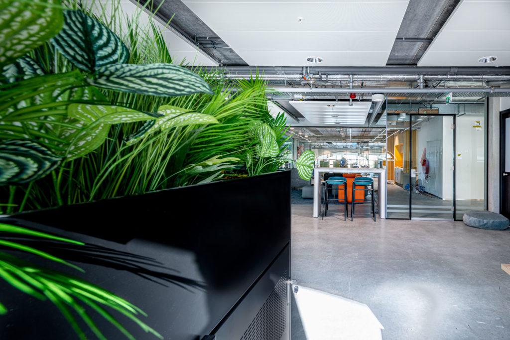 kantoorruimte oranje groen glas zwart plant