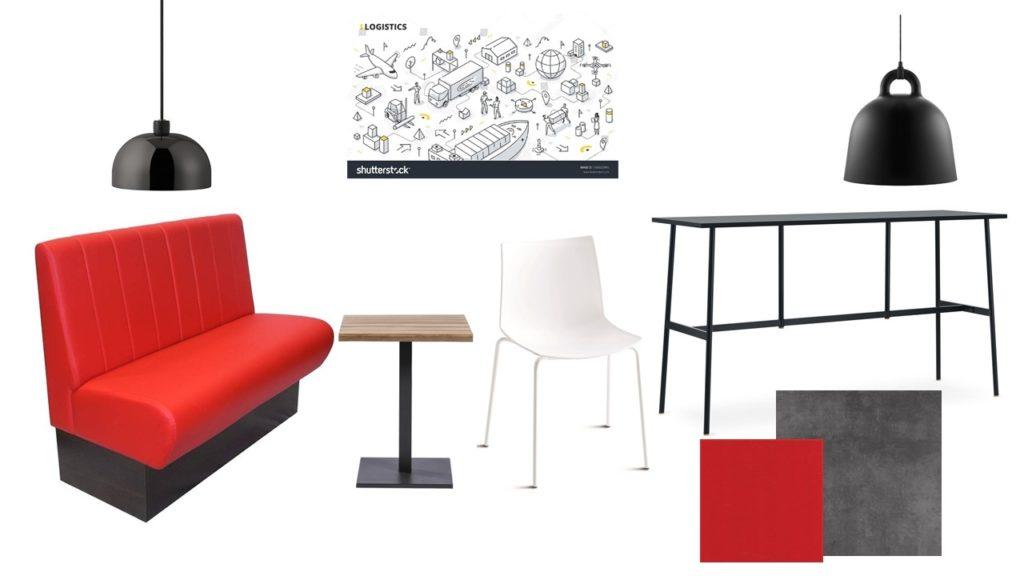 Moodboard kantine zwart rood en wit