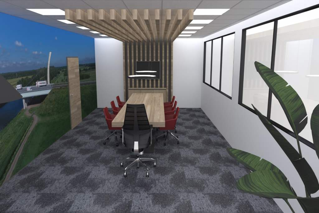 vergaderruimte houten tafel rode stoelen 5