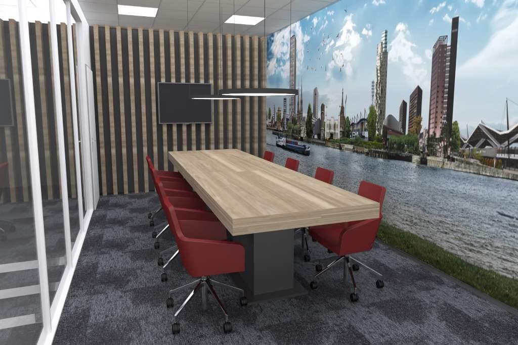 vergaderruimte houten tafel rode stoelen 4