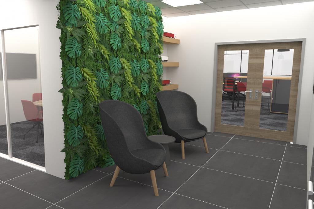 entree ontwerp P&M vergaderruimte stoel zwart