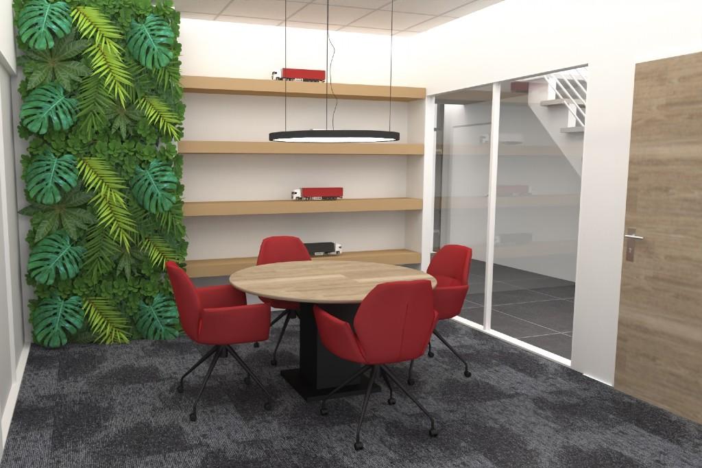 vergaderruimte stoel rood natuur hout