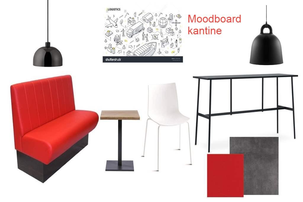 moodboard kantine rood grijs zwart